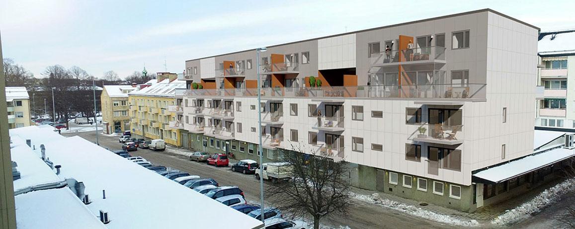Fotomontage som visar huset på Södra Kansligatan