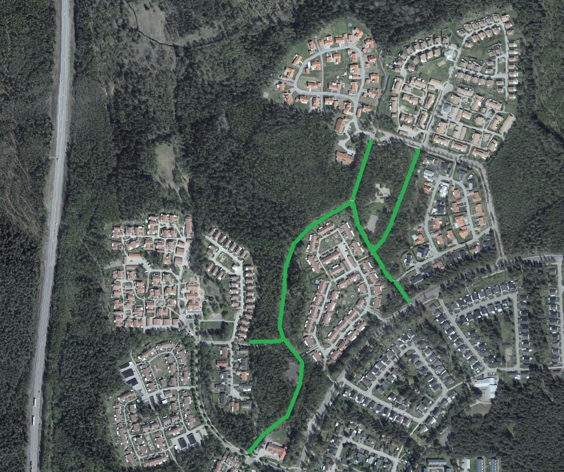 KArtbild som visar cykelvägar