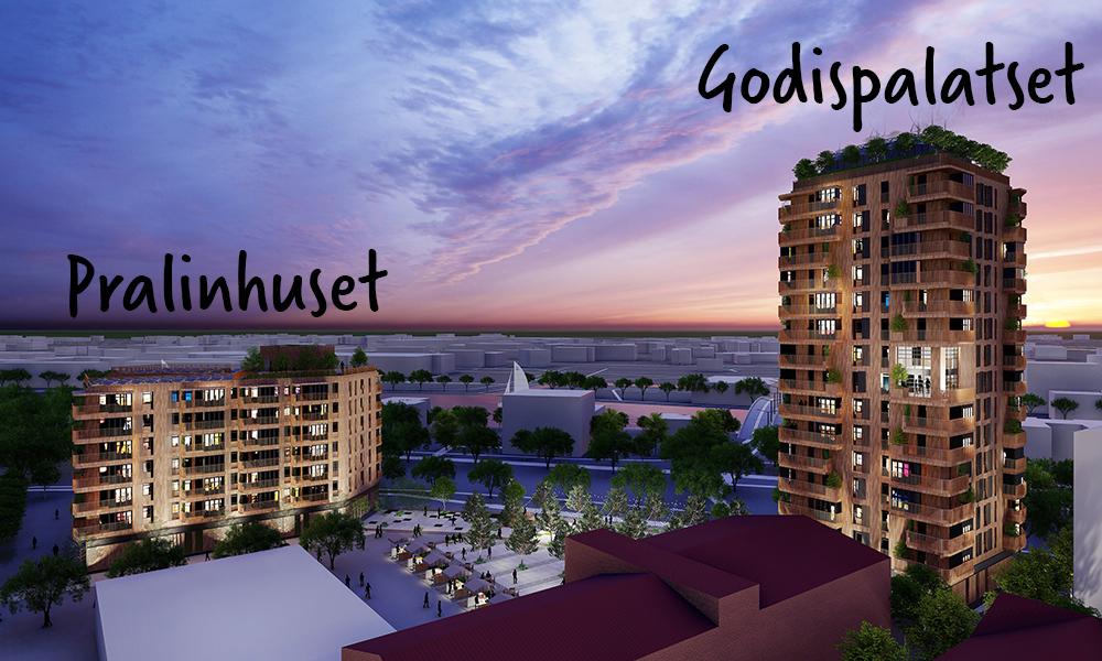 Visionsbild av Gavlegårdarnas hus på Godisfabriken