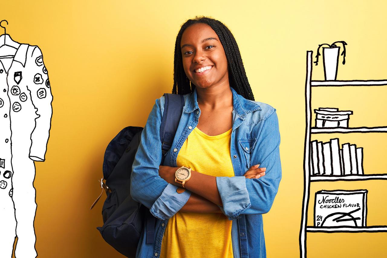 Kvinnlig student omgiven av teckande möbler