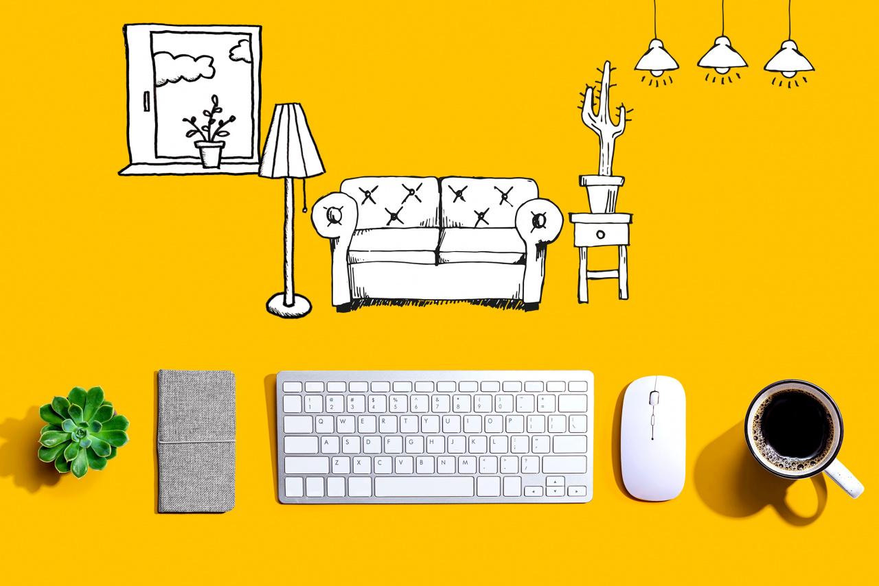 Tangentbord och tecknade möbler
