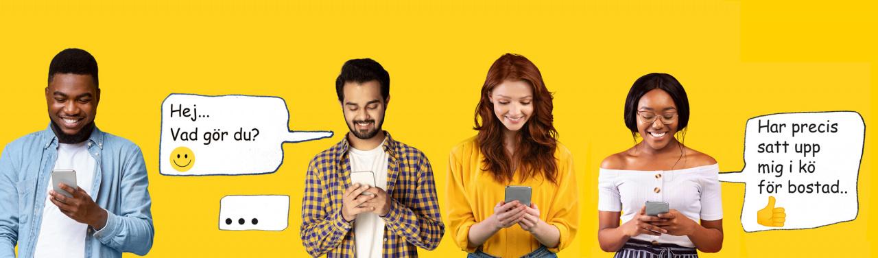 Ungdomar som tittar i en mobil